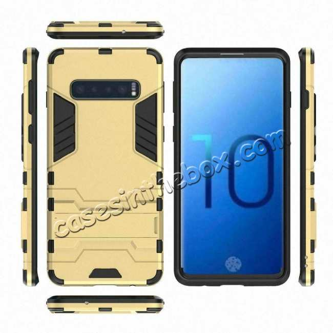 top quality Shockproof Hybrid Armor Stand Case Cover For Samsung Galaxy S10e - Gold