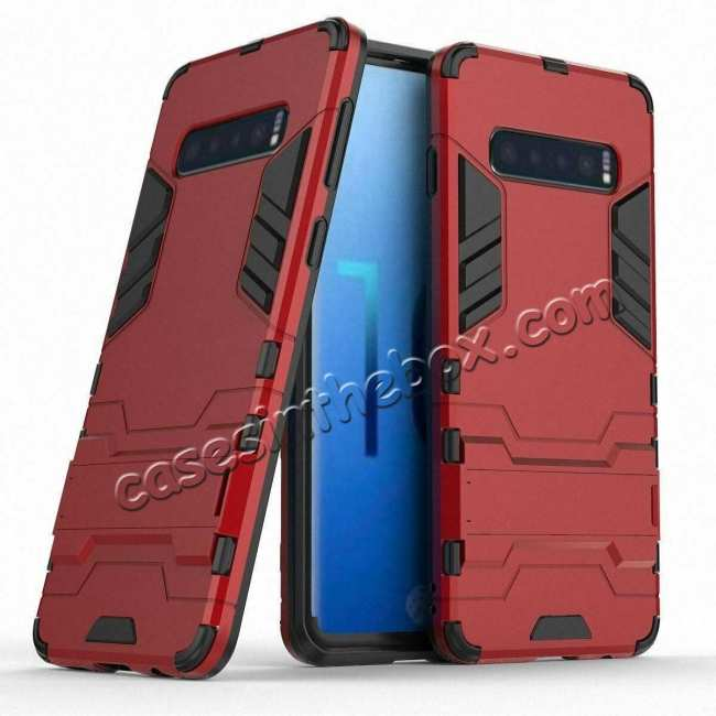 wholesale Shockproof Hybrid Armor Stand Case Cover For Samsung Galaxy S10e - Red