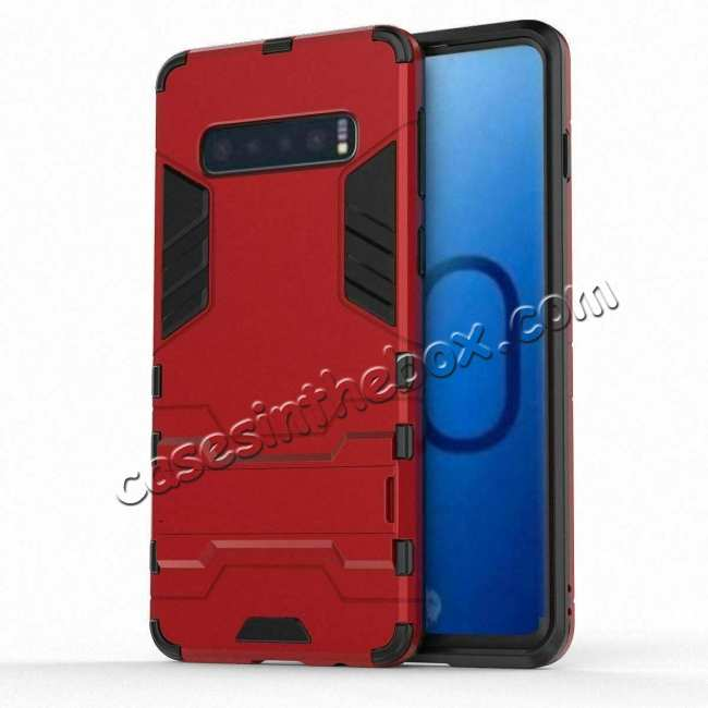 discount Shockproof Hybrid Armor Stand Case Cover For Samsung Galaxy S10e - Red
