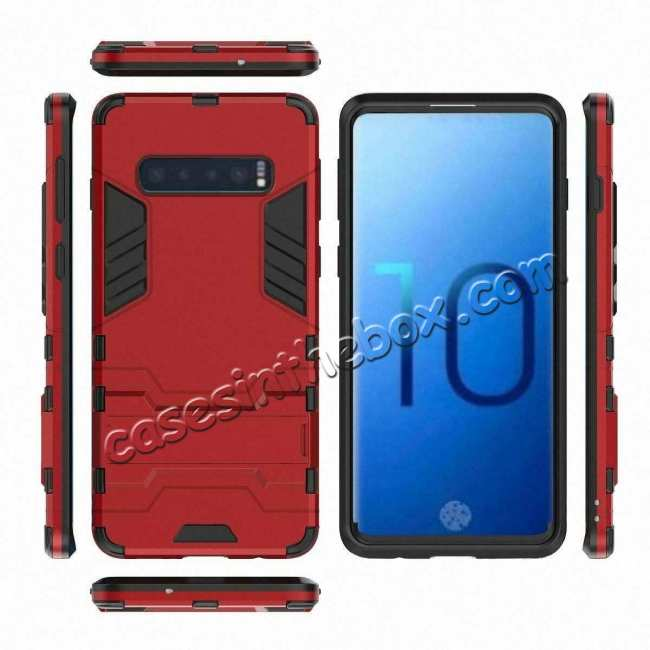 top quality Shockproof Hybrid Armor Stand Case Cover For Samsung Galaxy S10e - Red