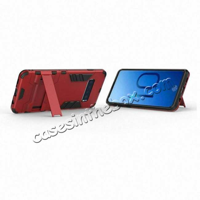 best price Shockproof Hybrid Armor Stand Case Cover For Samsung Galaxy S10e - Red