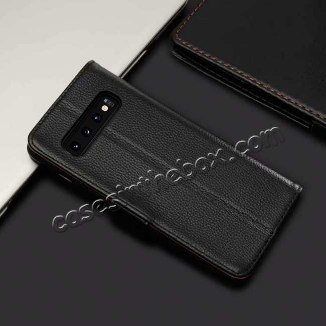 cheap Wallet Stand Leather Case for Samsung Galaxy S10 Plus - Black