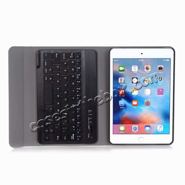 best price For iPad Mini 5 Ultra-thin Detachable Bluetooth Wireless Keyboard Stand Leather Case - Black