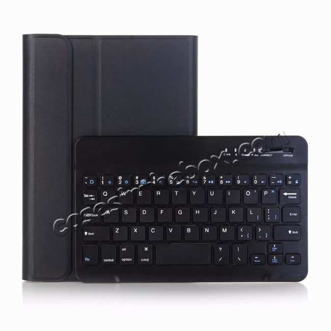top quality For iPad Mini 5 Ultra-thin Detachable Bluetooth Wireless Keyboard Stand Leather Case - Black