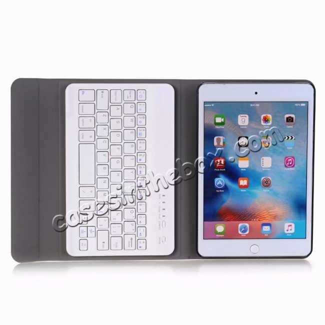 top quality For iPad Mini 5 Ultra-thin Detachable Bluetooth Wireless Keyboard Stand Leather Case - Gold
