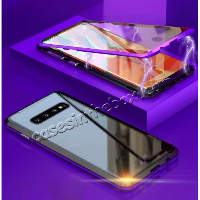 discount Aluminum Metal Tempered Glass Full Case for Samsung Galaxy S10 Plus - Black&Purple