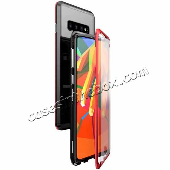 wholesale Aluminum Metal Tempered Glass Full Case for Samsung Galaxy S10 Plus - Black&Red