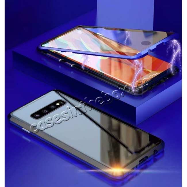discount For Samsung Galaxy S10 Magnetic Adsorption Metal Frame + Tempered Glass Back Case - Blakc&Blue
