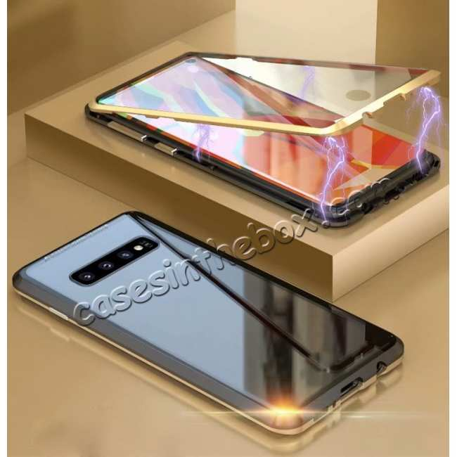 discount For Samsung Galaxy S10 Magnetic Adsorption Metal Frame + Tempered Glass Back Case - Black&Gold