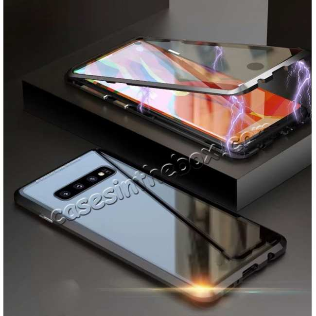 discount For Samsung Galaxy S10 Magnetic Adsorption Metal Frame + Tempered Glass Back Case - Black