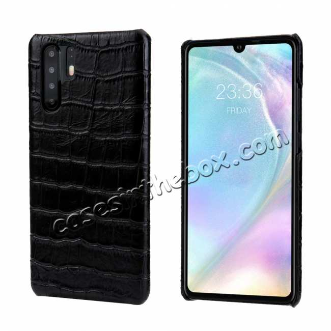 wholesale For Huawei P30 Crocodile Pattern Genuine Leather Back Case Cover -  Black