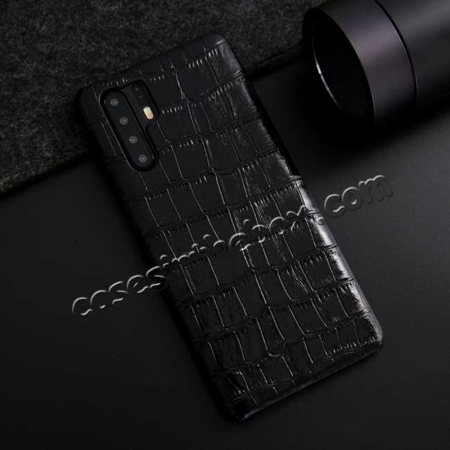 discount For Huawei P30 Crocodile Pattern Genuine Leather Back Case Cover -  Black