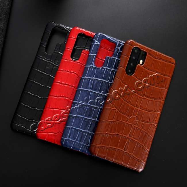 top quality For Huawei P30 Crocodile Pattern Genuine Leather Back Case Cover -  Black