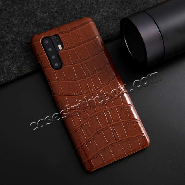 discount For Huawei P30 Crocodile Pattern Genuine Leather Back Case Cover -  Brown