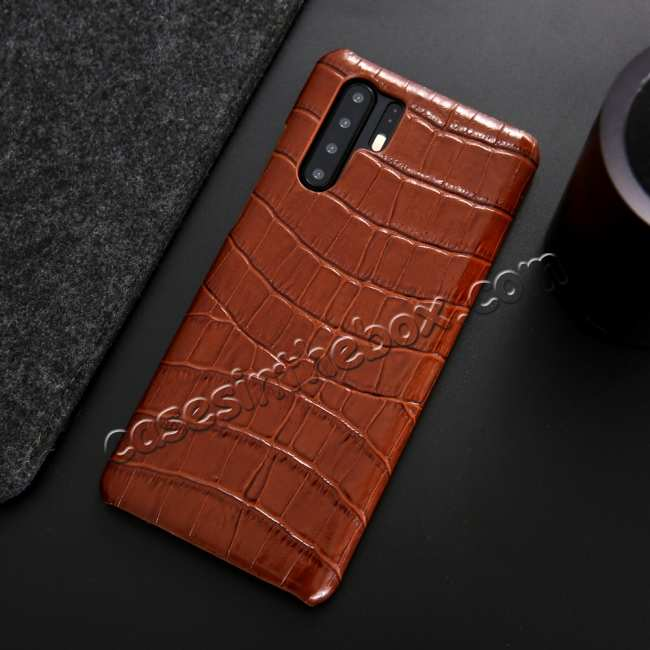top quality For Huawei P30 Crocodile Pattern Genuine Leather Back Case Cover -  Brown