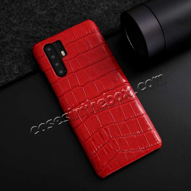 discount For Huawei P30 Crocodile Pattern Genuine Leather Back Case Cover -  Red