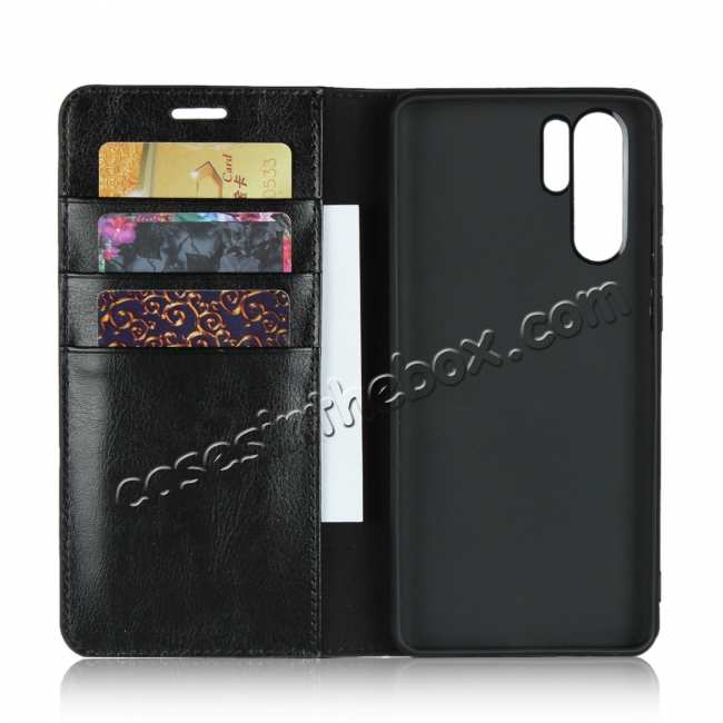 top quality For Huawei P30 Pro Shockproof Flip Card Wallet Leather Case Cover - Black