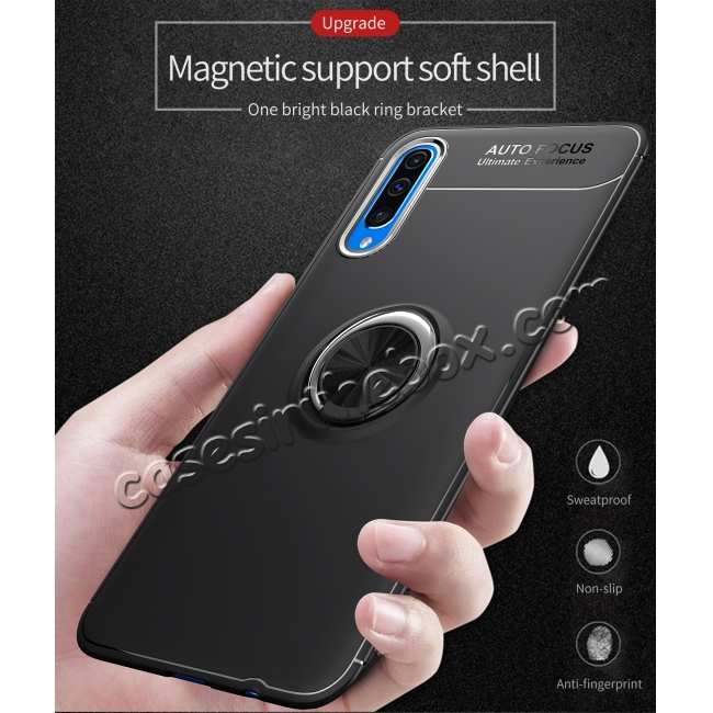 cheap For Samsung Galaxy A50 Shockproof Armor Magnet Ring Holder Stand Case Cover - Black