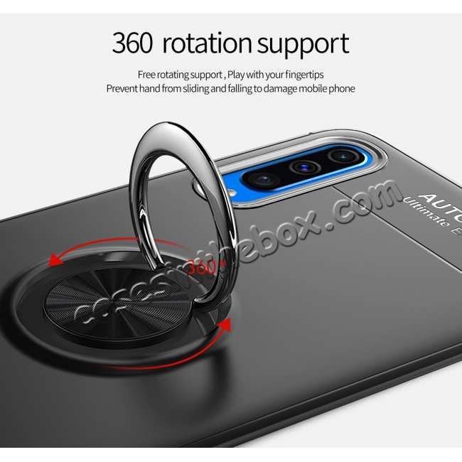 cheap For Samsung Galaxy A50 Shockproof Magnet Ring Holder Stand Case Cover - Black&Red