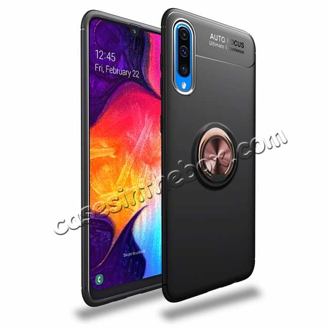 wholesale For Samsung Galaxy A50 Shockproof Magnet Ring Holder Stand Case Cover - Black&Rose Gold