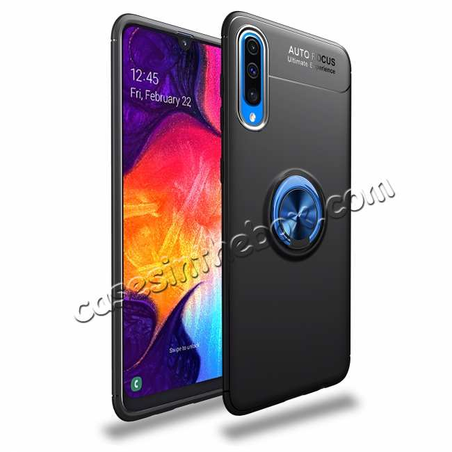 wholesale For Samsung Galaxy A50 Shockproof Magnet Ring Holder Stand Case Cover - Black&Blue