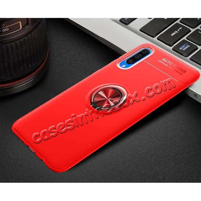discount For Samsung Galaxy A50 Shockproof Magnet Ring Holder Stand Case Cover - Red