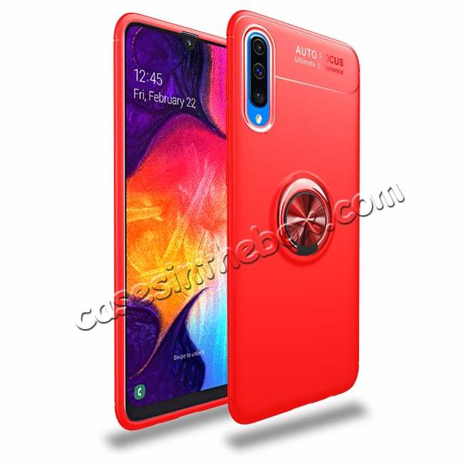 wholesale For Samsung Galaxy A50 Shockproof Magnet Ring Holder Stand Case Cover - Red