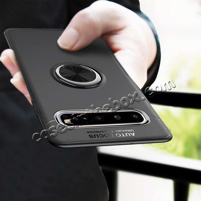 top quality For Samsung Galaxy S10 Plus Ring Holder Shockproof Hybrid TPU Armor Case Cover - Black&Rose Gold