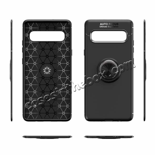 best price For Samsung Galaxy S10 Plus Ring Holder Shockproof Hybrid TPU Armor Case Cover - Black&Rose Gold