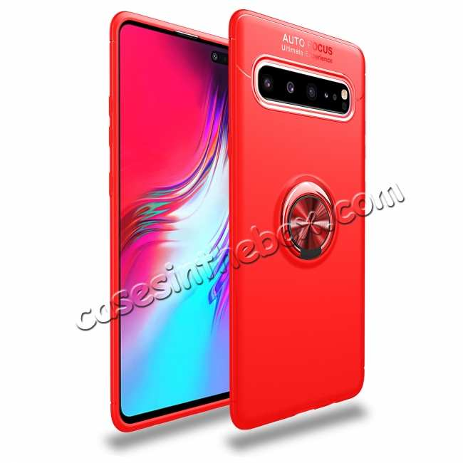 wholesale For Samsung Galaxy S10 Plus / S10 Ring Stand Phone Case Shockproof Cover - Red