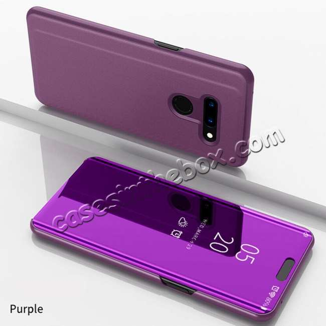 wholesale For LG G8 ThinQ Phone Case Luxury Ultra Slim Mirror Flip Stand Shockproof Cover - Purple
