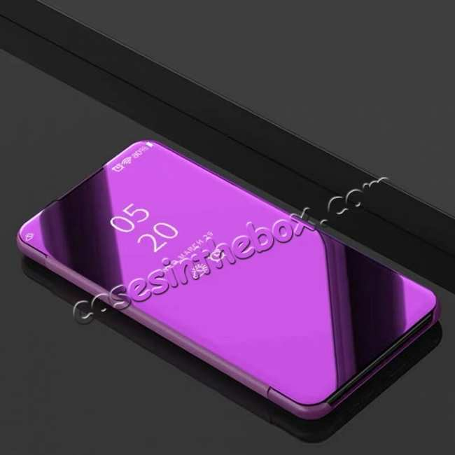 discount For LG G8 ThinQ Phone Case Luxury Ultra Slim Mirror Flip Stand Shockproof Cover - Purple