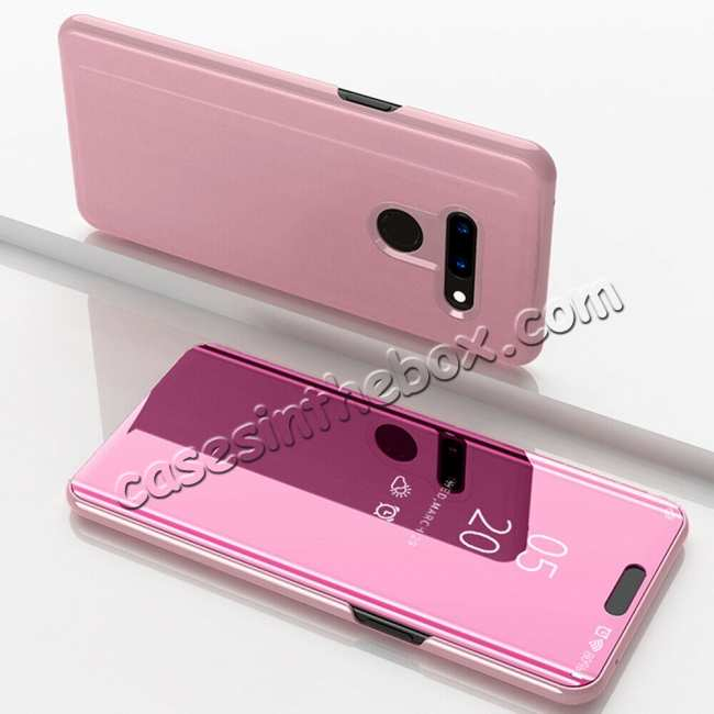 wholesale For LG G8 ThinQ Phone Case Luxury Ultra Slim Mirror Flip Stand Shockproof Cover - Rose Gold
