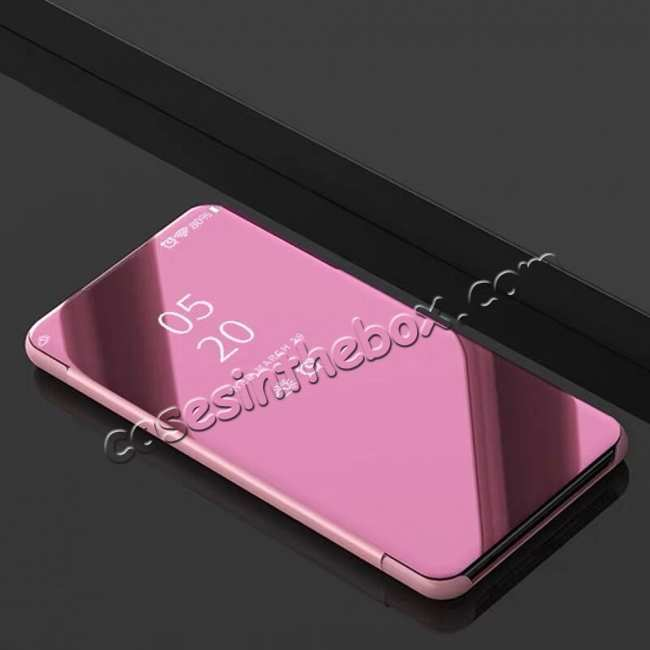 discount For LG G8 ThinQ Phone Case Luxury Ultra Slim Mirror Flip Stand Shockproof Cover - Rose Gold