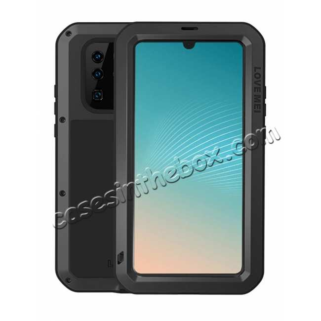 wholesale Shockproof Dropproof Dustproof Aluminum Metal Case Cover for Huawei P30 - Black