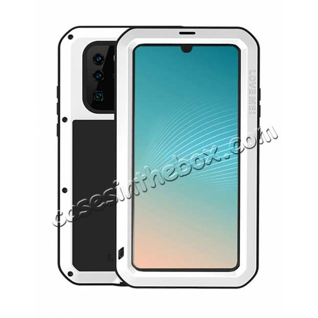 wholesale Love Mei for Huawei P30 Metal Armor Heavy Duty Cover Metal Aluminum Case With Tempered Gorilla - White