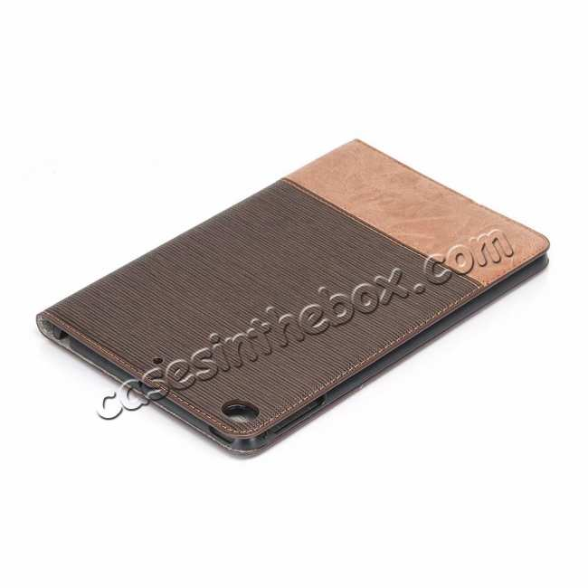 discount Cross Texture Wallet Leather Stand Case For iPad Mini 5 - Dark Brown