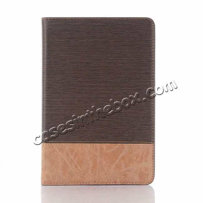 cheap Cross Texture Wallet Leather Stand Case For iPad Mini 5 - Dark Brown