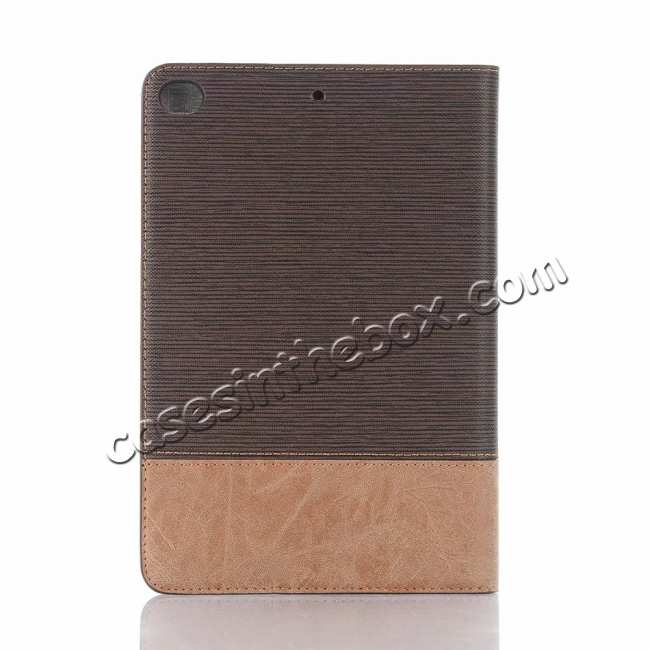 top quality Cross Texture Wallet Leather Stand Case For iPad Mini 5 - Dark Brown