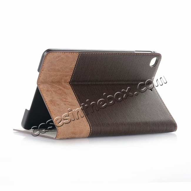 wholesale Cross Texture Wallet Leather Stand Case For iPad Mini 5 - Dark Brown