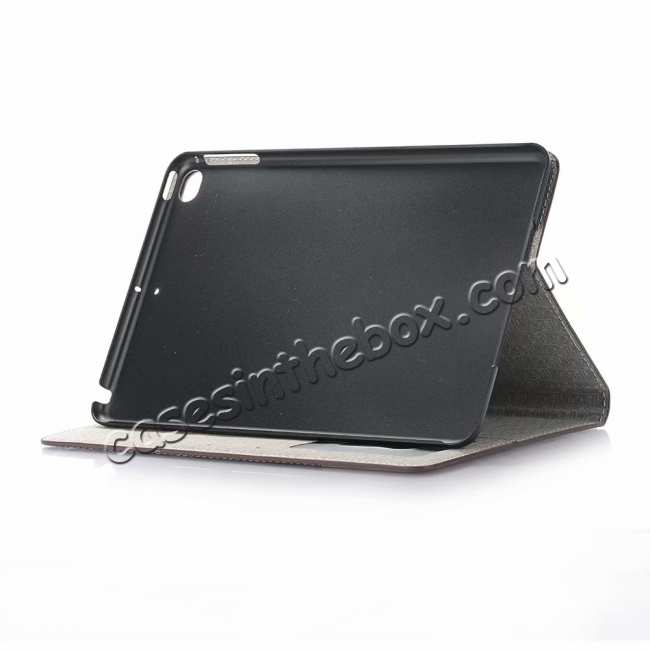 best price Cross Texture Wallet Leather Stand Case For iPad Mini 5 - Dark Brown