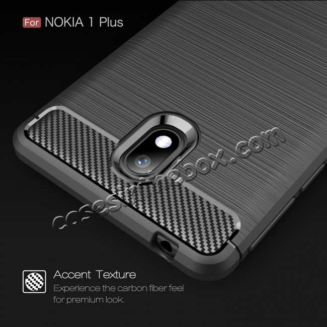 cheap For Nokia 1 Plus Luxury Carbon Fibre Bumper Hard Back Case Cover - Navy Blue