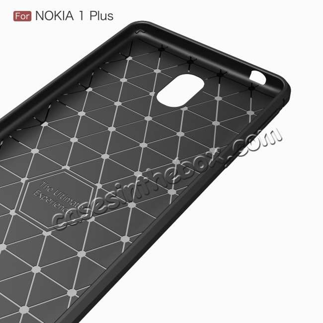 top quality For Nokia 1 Plus Luxury Carbon Fibre Bumper Hard Back Case Cover - Navy Blue