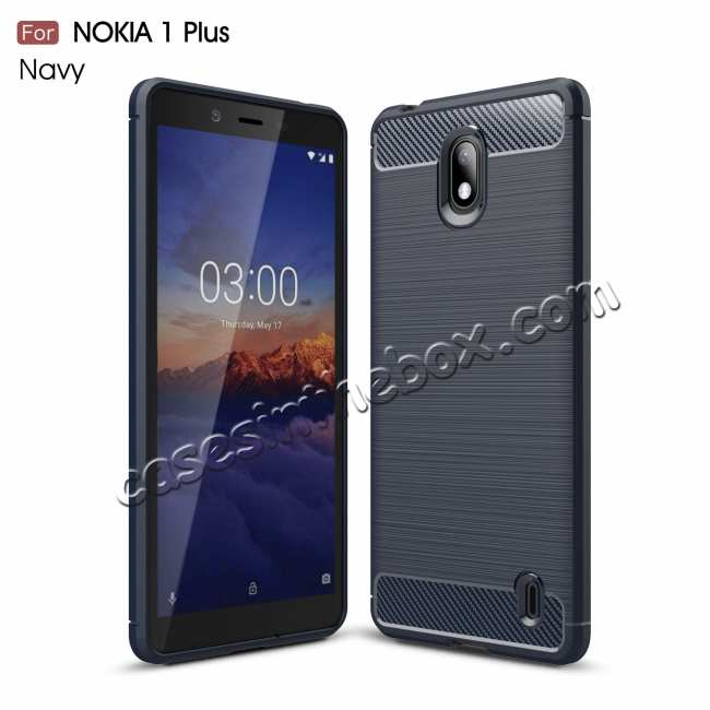 wholesale For Nokia 1 Plus Luxury Carbon Fibre Bumper Hard Back Case Cover - Navy Blue