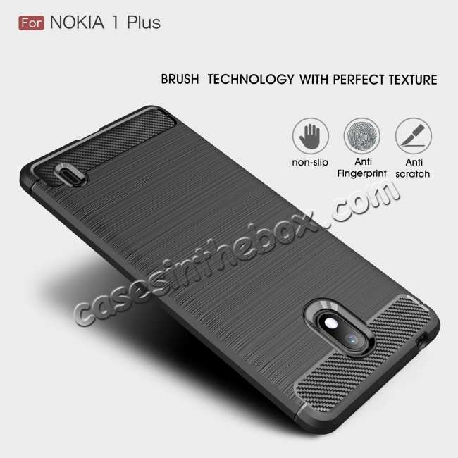 discount For Nokia 1 Plus Brushed Carbon Fiber Shockproof TPU Case Cover - Red