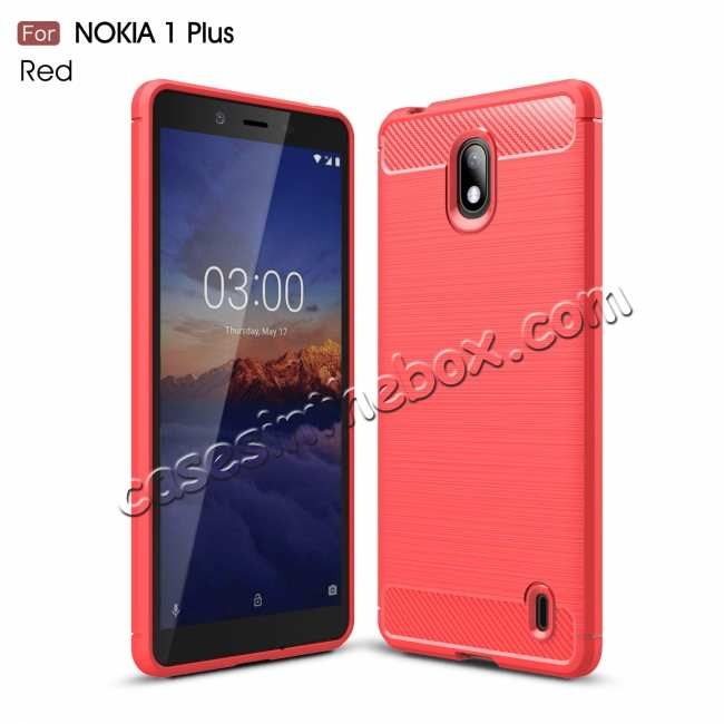 wholesale For Nokia 1 Plus Brushed Carbon Fiber Shockproof TPU Case Cover - Red