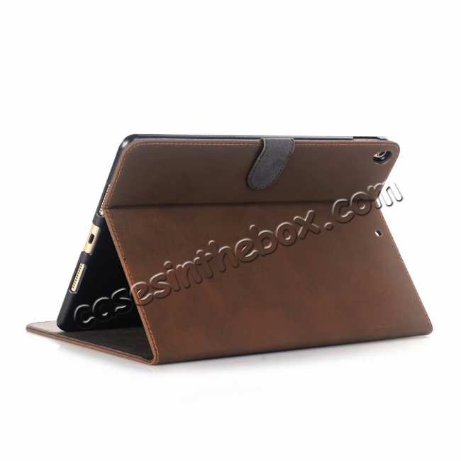 wholesale For iPad Air 2019 10.5 Retro Folio Magnetic Leather Case With Stand  - Dark Brown