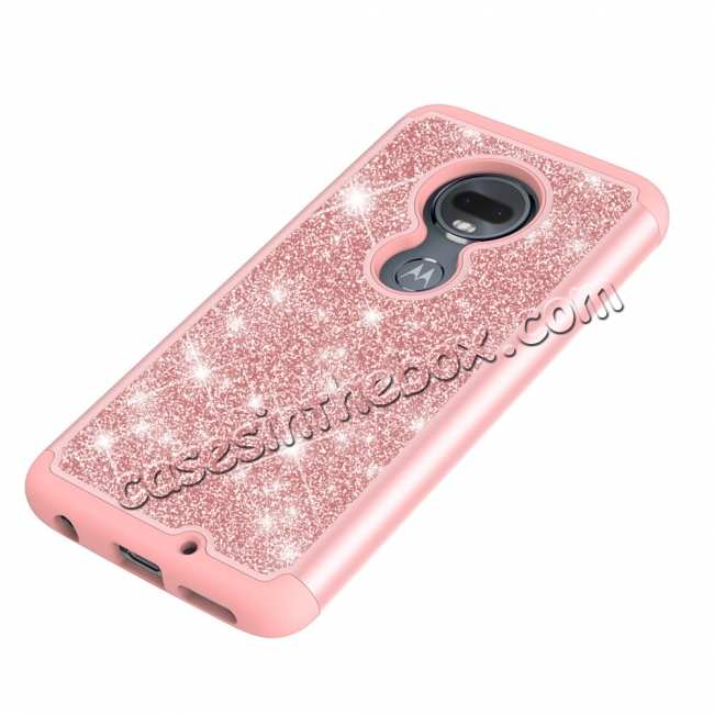 top quality For Motorola Moto G7 / G7 Plus Glitter Case Slim Sparkly Bling Shockproof Cover - Rose Gold