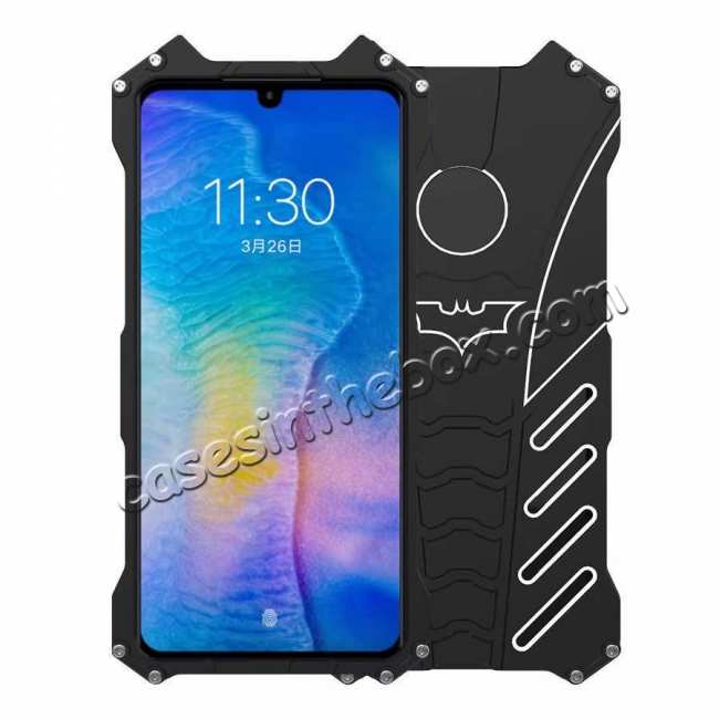 discount Aluminum Metal Shockproof Protective Back Case for Huawei P30 - Black