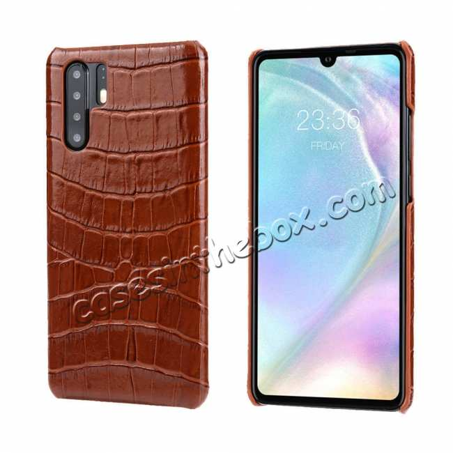 wholesale Crocodile Pattern Genuine Leather Back Case For Huawei P30 Pro - Brown